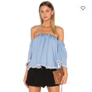 J.O.A. Off The Shoulder 3/4 Sleeve Top Baby blue M